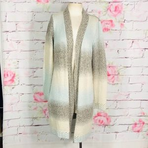 Maurices long open metallic hints sweater cardigan